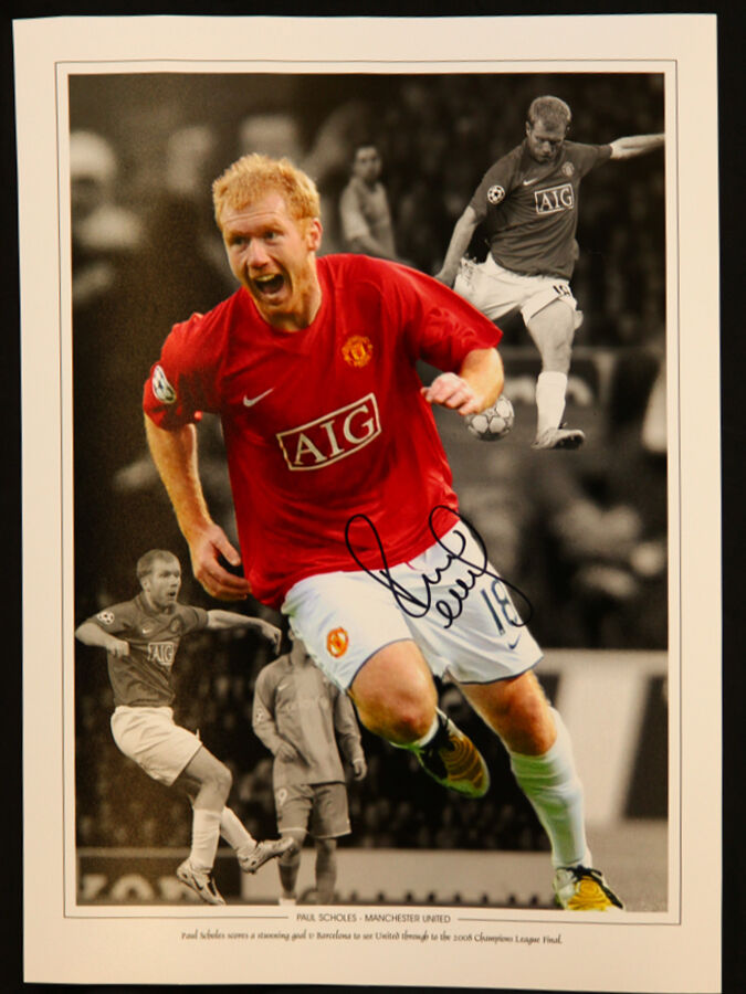New Paul Scholes Signed 12x16 Manchester United Football Montage